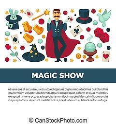 魔法 ショー, ポスター, 昇進, スーツ, 手品師