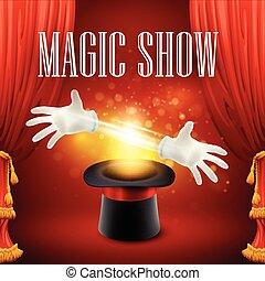 魔法 ショー, concept., サーカス, イラスト, ベクトル, トリック, パフォーマンス