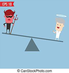 魔鬼, 以及, 天使, 比較, 為, 好和坏, 概念, -, 矢量, 插圖, -, eps10