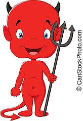 魔鬼, 卡通, 紅色