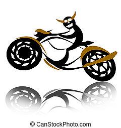 魔鬼, 騎自行車的人, 上, 摩托車