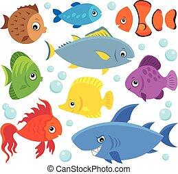 魚, 定型, セット, 4, 主題
