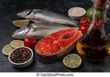 魚, 新たに, bord, 鮭, seabass