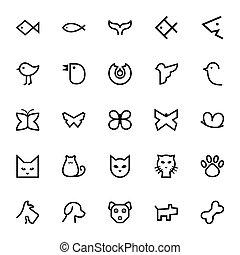 魚, 蝶, ネコ, 鳥, &