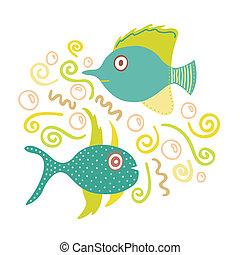 魚, doodles, hand-drawn, 美しい, イラスト