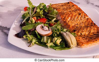 鮭, 低い, サラダ, carb