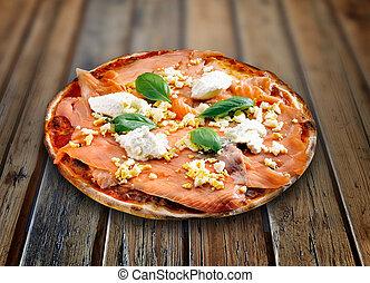 鮭, 木製である, textured, ピザ, テーブル