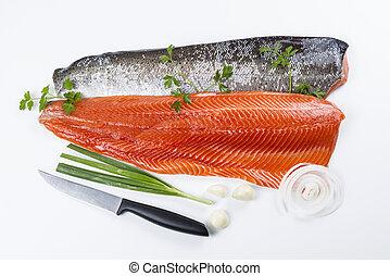 鮭, fish, 新たに, フィレット, ハーブ