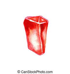 鮮やか, 隔離された, 水彩画, 水晶, 白い赤