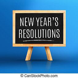 鮮やか, 黒板, 青, 単語, イーゼル, 新しい, 計画, resolutions, 背景, スタジオ, 年, 年の