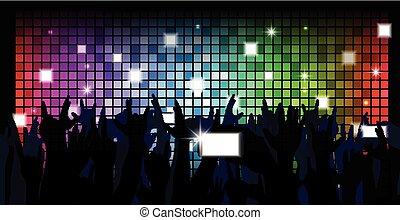 鮮艷, 人群, ......的, 黨, 人們