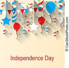 鮮艷, 問候, 第4, 棉經毛緯平紋呢, 美國人, 七月, 獨立日, 五彩紙屑, 气球, 卡片