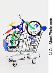 鮮艷, 塑料玩具, 兩 轉動, 自行車, 在, 購買, 車, 在懷特上, 背景