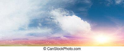 鮮艷, 天空, 以及, 云霧
