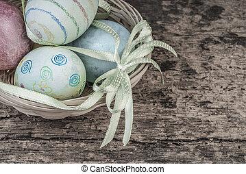 鮮艷, 復活節蛋, 在, a, 籃子