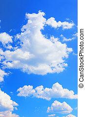 鮮艷, 明亮的藍色, 天空, 背景