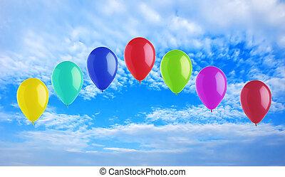 鮮艷, 明亮, 气球, 上, 藍色的天空