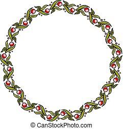 鮮艷, 框架, 簡單, wreath., 植物, 輪