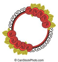 鮮艷, 植物, 圓形的框架, 由于, 裝飾, 玫瑰, 手, 畫