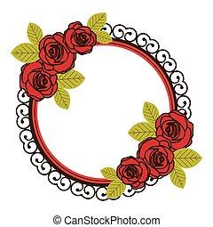 鮮艷, 植物, 圓形的框架, 由于, 裝飾, 玫瑰