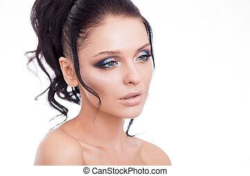 鮮艷, 構成, 婦女 面孔, 美麗, 黑發淺黑膚色女子, 夏天, 构成, 美麗, 時裝, 女孩, 模型, 由于, 粉紅嘴唇