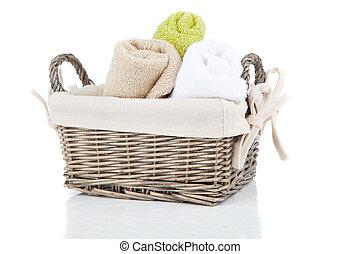 鮮艷, 毛巾, 在, 籃子, 被隔离, 在懷特上