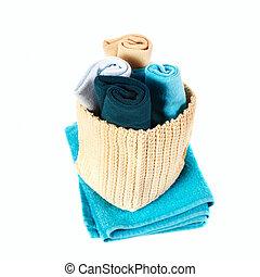 鮮艷, 毛巾, 在, a, 籃子, 被隔离