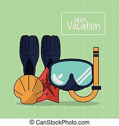 鮮艷, 海報, ......的, 喜愛, 假期, 由于, 水下通气管, 設備, 以及, starfish, 殼