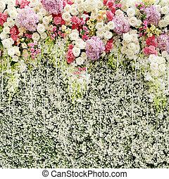 鮮艷, 牆, 綠色, 婚禮, 花, 背景