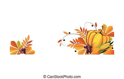 鮮艷, 空間, 邊框, 離開, 南瓜, 感恩, 插圖, 秋天, 矢量, 正文, 旗幟, 框架