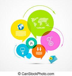 鮮艷, 网, 樣板, -, 環繞, 紙, 矢量, infographic, 布局