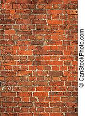 鮮艷, 老, 英國人, 紅色的磚牆, 背景。