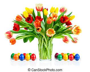鮮艷, 花束, ......的, 鬱金香, 在, a, 花瓶