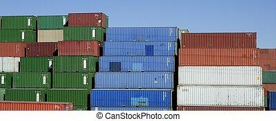 鮮艷, 藍色的天空, 容器, 貨物, 堆積