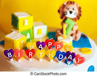 鮮艷, 蜡燭, 寫, 生日, 背景, 愉快