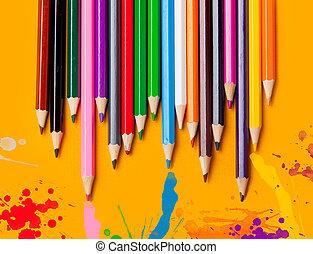 鮮艷, 鉛筆, 上, 黃色的背景
