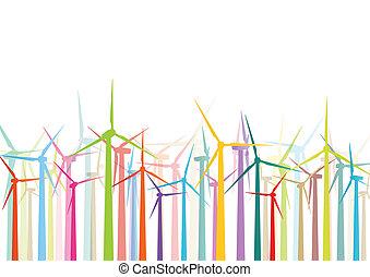 鮮艷, 風, 電, 發電机, 以及, 風車, 詳細, 生態學, 電, 黑色半面畫像, 插圖, 彙整, 背景, 矢量