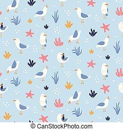 鮮艷, seamless, 圖案, 由于, 海鷗, 在, vector.