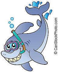 鯊魚, 水下通气管, 潛水者