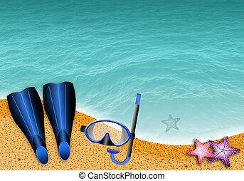 鰭, 以及, 水下通气管, 面罩