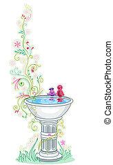 鳥の 浴室