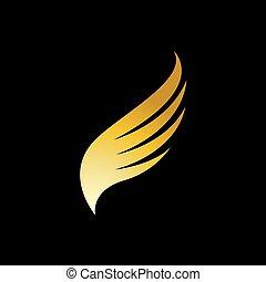 鳥翼, 金, タカ, ベクトル, ロゴ
