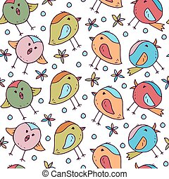 鳥, かわいい, パターン, seamless, 部屋, 子供