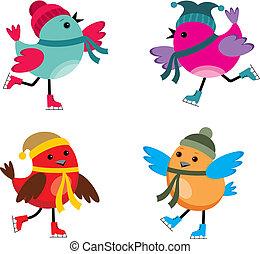 鳥, アイススケートをする