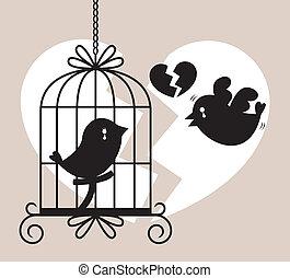 鳥, カード, 叫び