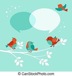 鳥, クリスマス, 挨拶, スピーチ, カード, 泡, ベクトル