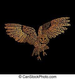 鳥, デジタルの芸術, フクロウ