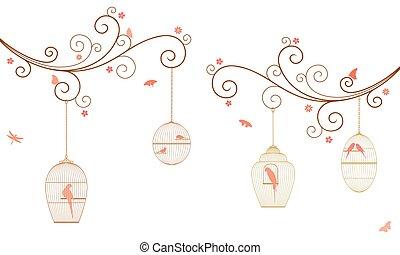 鳥, ブランチ, オウム, 花, 鳥, バックグラウンド。, 木, 白, ケージ, 巻き毛, 蝶, ベクトル, 掛かること, セキセイインコ, とんぼ, イラスト