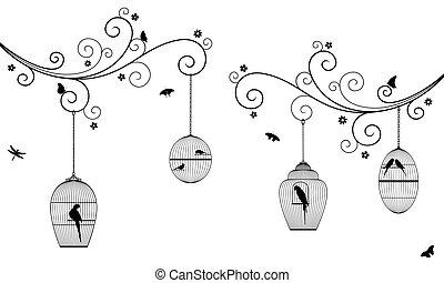 鳥, ブランチ, オウム, 花, 鳥, バックグラウンド。, 色, 木, 白, ケージ, 巻き毛, 黒, 蝶, ベクトル, 掛かること, セキセイインコ, とんぼ, イラスト