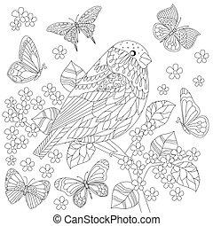 鳥, ブランチ, 着色, かわいい, 木, ページ, あなたの